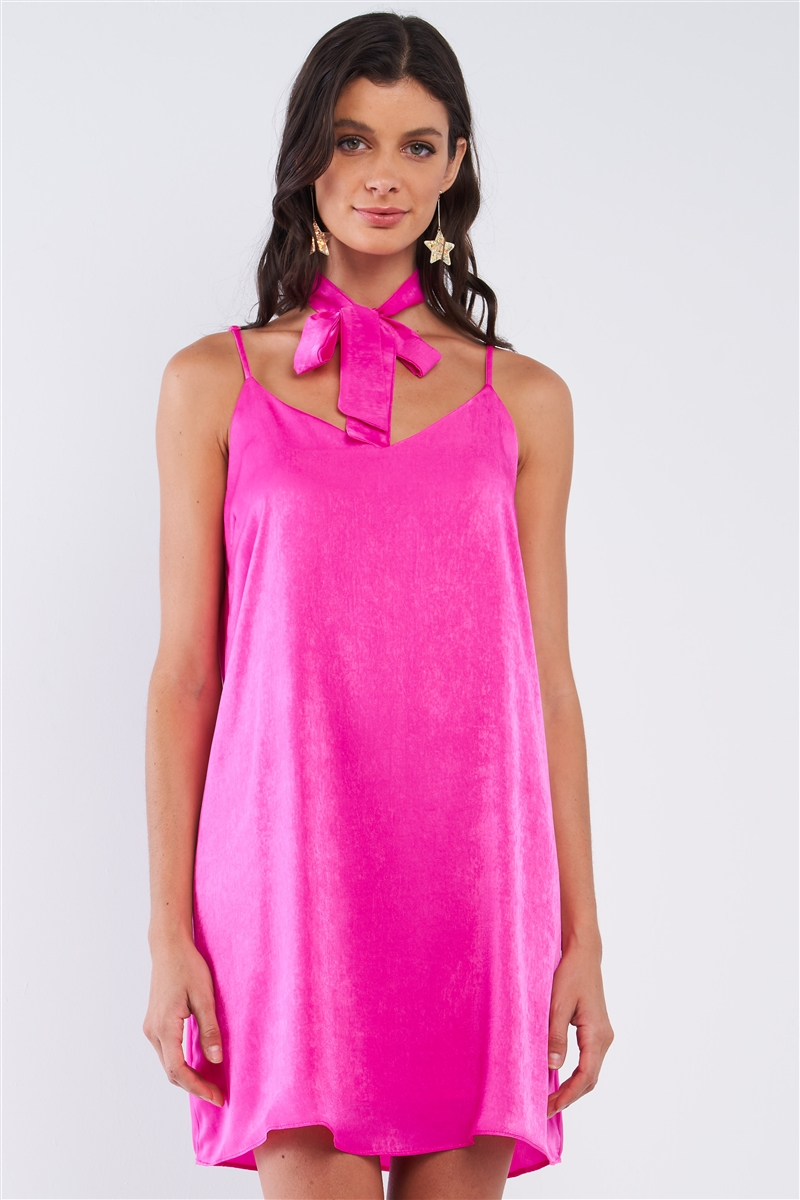Magenta Pink Satin Relaxed Fit V-Neck Sleeveless T-Shaped Back Strap Mini Dress With Detachable Halter Tie /1-2-2-1