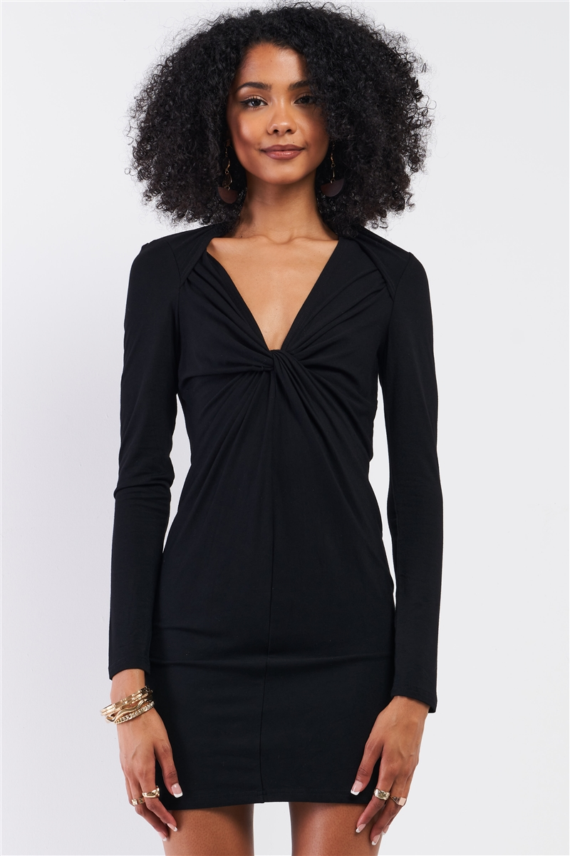 Black Wrap Twist Detail Bust Cut Out Detail Long Sleeve Fitted Mini Dress /1-1-2
