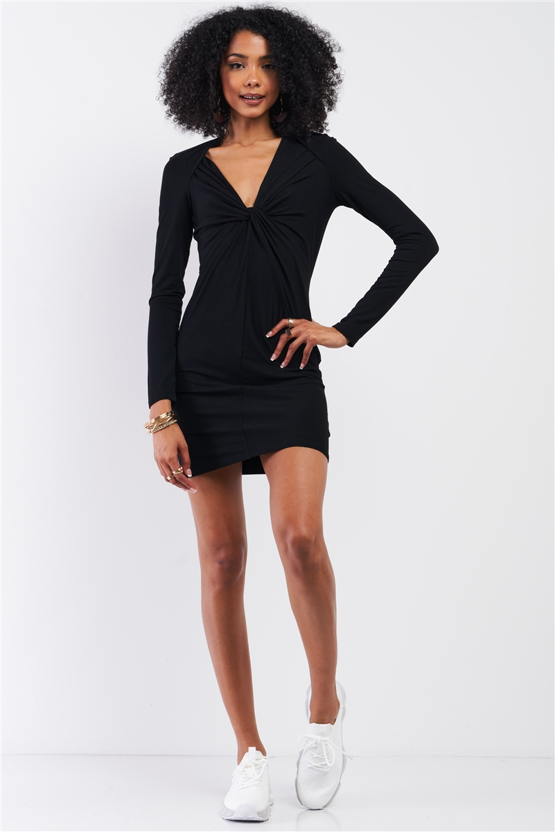 Black Wrap Twist Detail Bust Cut Out Detail Long Sleeve Fitted Dress /1-2-2-1