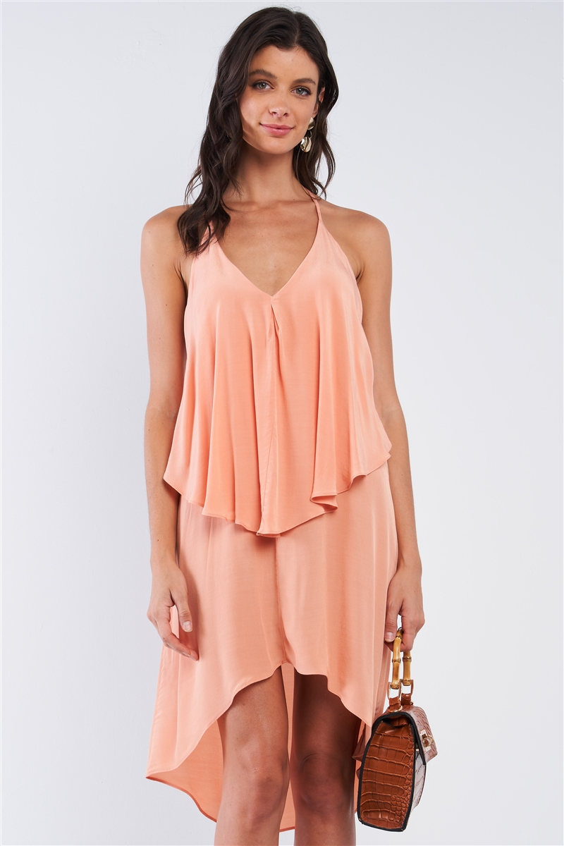 Peach Asymmetrical Sleeveless Deep Plunge V-Neck Layered Flowy Self-Tie Back T-Shaped Halter Neck Tie Mini Dress /1-2-2-1