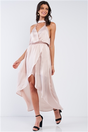 Powder Kiss Beige Satin Elegant Asymmetrical V-Neck Sleeveless Halter Tie Open Back Wrap Midi Dress /1-2-2-1
