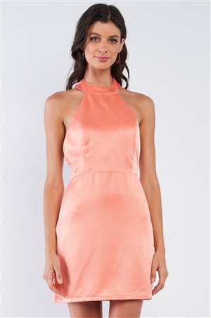 Coral Orange Satin Sleeveless Adjustable Razor Back Strap Halter Tie Tight Fit Cocktail Mini Dress /1-1-2-1