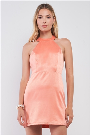 Coral Orange Satin Sleeveless Adjustable Razor Back Strap Halter Tie Tight Fit Cocktail Mini Dress /1-2-2-1