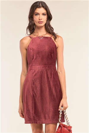 Plum Red Corduroy Sleeveless Square Neck Tight Fit Mini Dress
