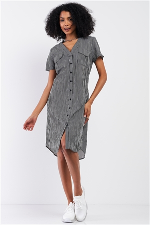 Black&White Striped Short Sleeve V-Neck Button Down Chest Pockets Lace-Up Back Detail Straight Midi Dress /1-2-1