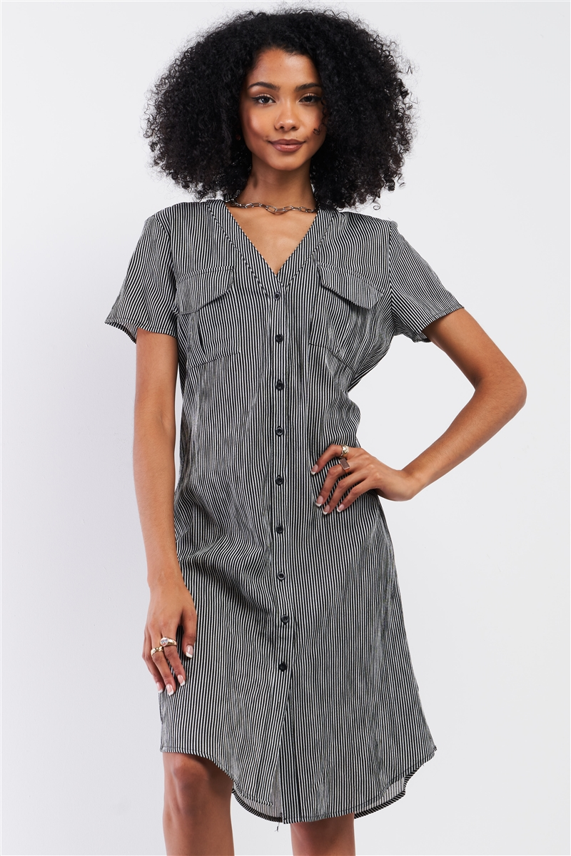 Black&White Striped Short Sleeve V-Neck Button Down Chest Pockets Lace-Up Back Detail Straight Midi Dress /1-2-2-1