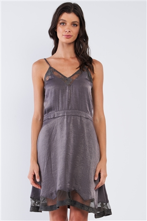 Dark Grey Chic Satin Sleeveless Embroidered Mesh Hem V-Neck Mini Dress