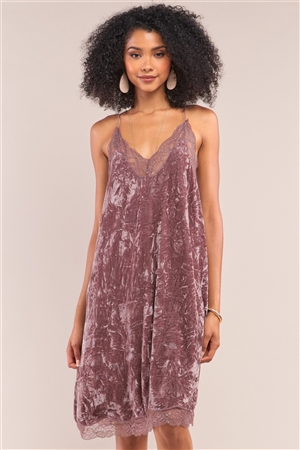 Dusty Lavender Crushed Velvet Vintage Sleeveless Lace Mesh V-Neck Razor Back Slip Dress