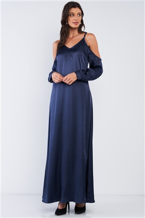 Deep Navy Blue Chic Satin Silk Relaxed Fit V-Neck Off-The-Shoulder Long Sleeve Maxi Dress /1-2-2