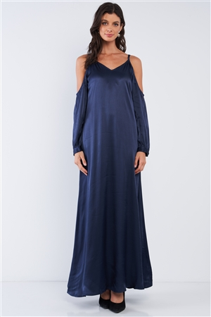 Deep Navy Blue Chic Satin Silk Relaxed Fit V-Neck Off-The-Shoulder Long Sleeve Maxi Dress /1-2-2-1