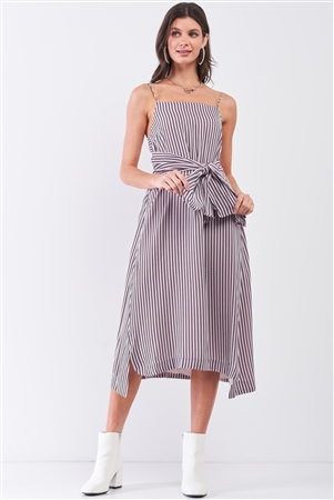 White Red Striped Sleeveless Square Neck Long Self-Tie Waist Detail Maxi Dress /1-2-2-1