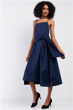 Navy Sleeveless Long Self-Tie Detail Midi Dress /2-2-2