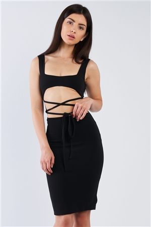 Black Sexy Midi Exposed Chest Tie Dress