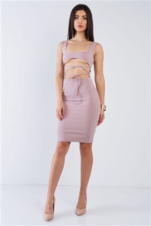 Blush Sexy Midi Exposed Chest Tie Dress