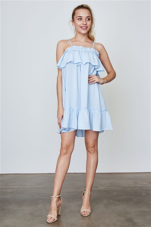 Blue Frill Off The Shoulder Neckline And Hem Mini Dress