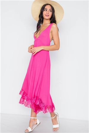 1624fe71a07 Quick View this Product Pink Yarrow Deep Plunging V Neckline Loose Maxi  Dress