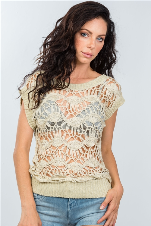 Beige  Crochet See Through Top