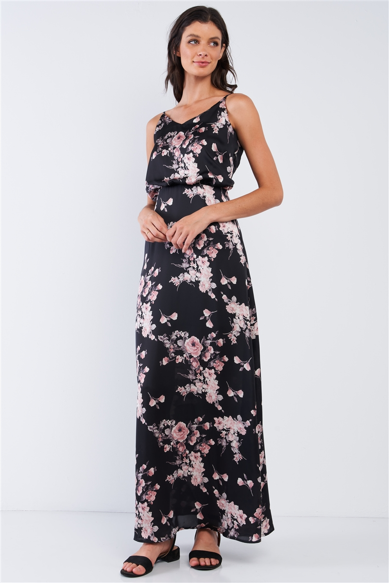 Black Multicolor Satin Floral Print Sleeveless V-Neck Self-Tie Back Detail Tube Maxi Dress