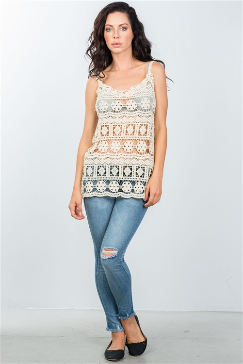 Boho Beige All Crochet Tank Top
