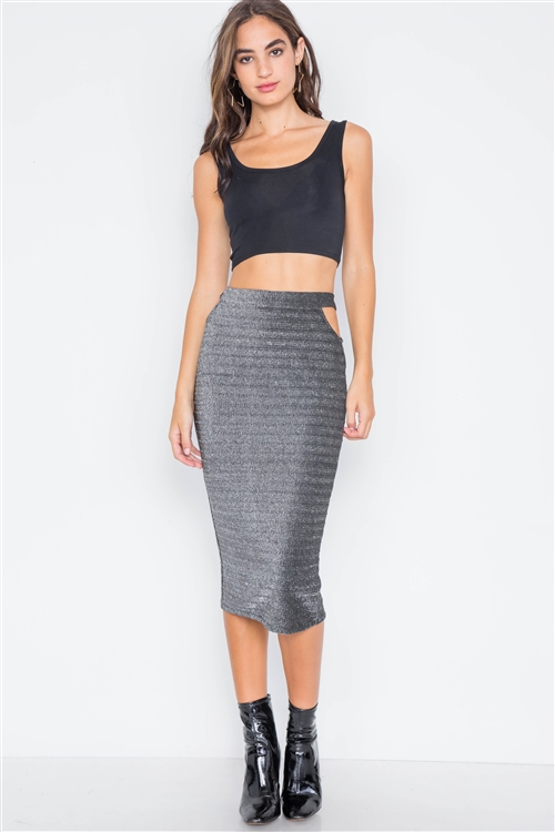 Black Silver Side Cut-Outs High-Waist Midi Skirt