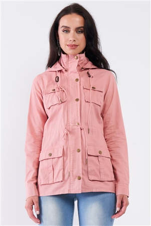 Blush Pink Cotton Front Zip-Up & Button Down Detachable Hood Detail Utility Jacket /1-2-2-2