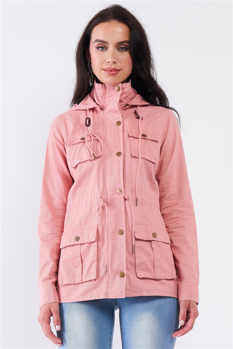 Blush Pink Cotton Front Zip-Up & Button Down Detachable Hood Detail Utility Jacket