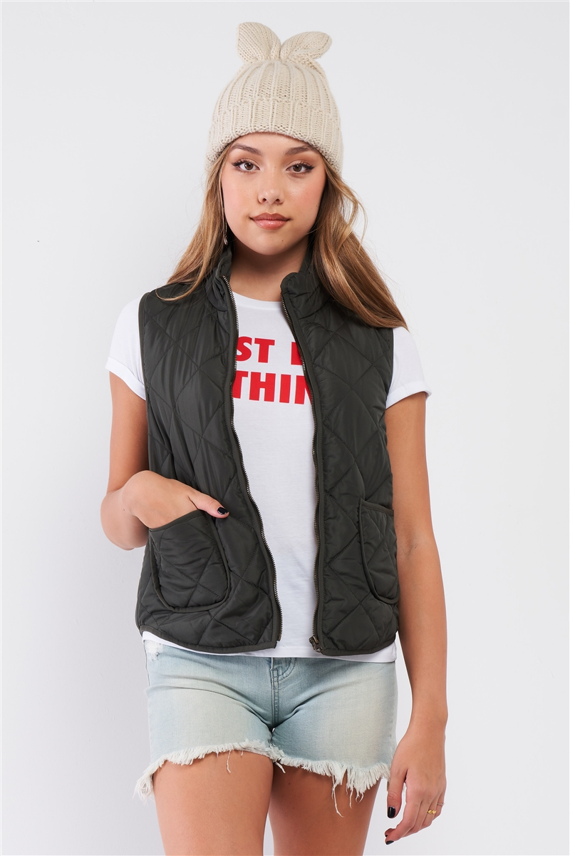 Olive Quilted Puff Two Pockets Zip-Up Turtleneck Vest /1-2-2