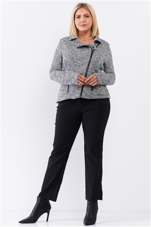Junior Plus Heather Grey Knit Asymmetrical Zipper Front Long Sleeve Fitted Moto Jacket /2-2