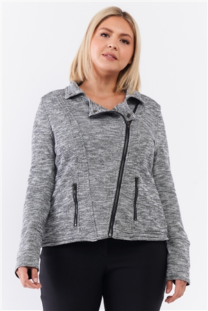 Junior Plus Heather Grey Knit Asymmetrical Zipper Front Long Sleeve Fitted Moto Jacket /3-2