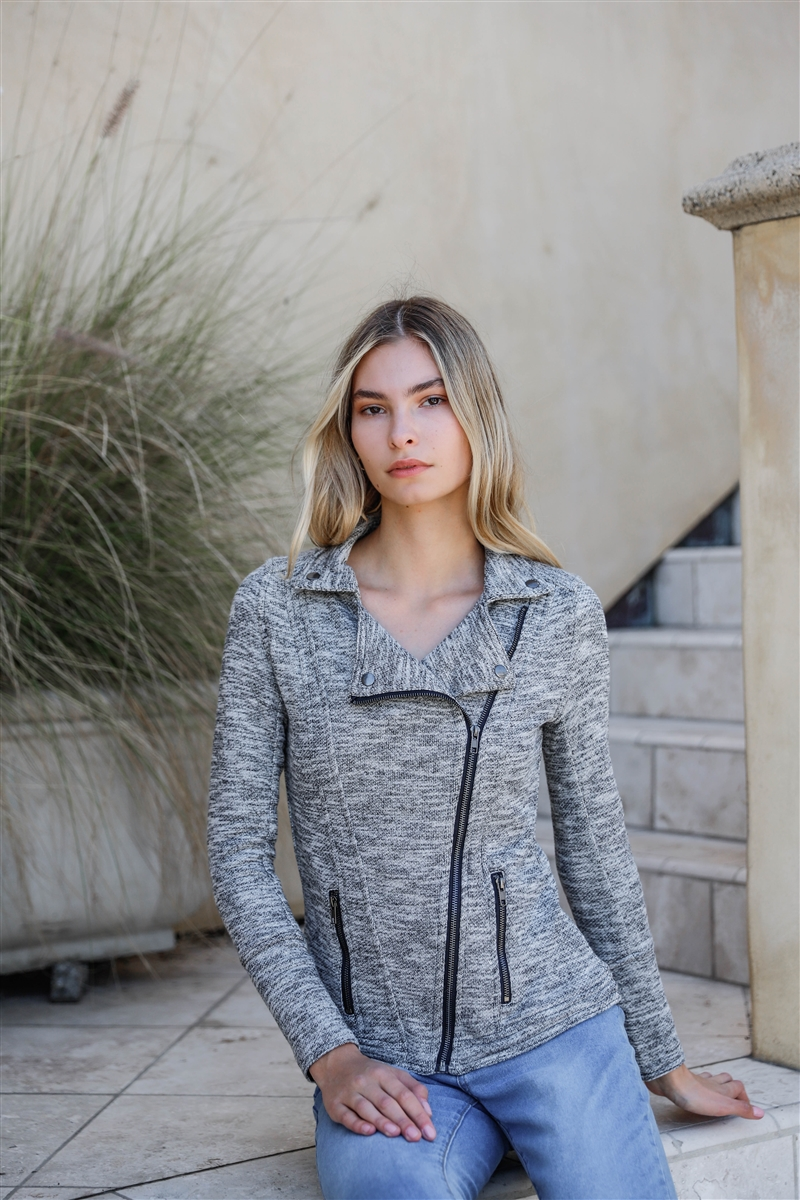 Heather Grey Knit Asymmetrical Zipper Front Long Sleeve Fitted Moto Jacket /1-1-2-1-1