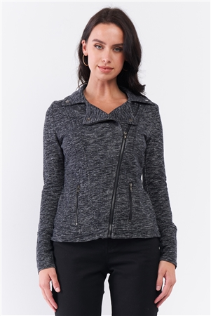 Heather Grey Knit Asymmetrical Zipper Front Long Sleeve Fitted Moto Jacket /3-1-3
