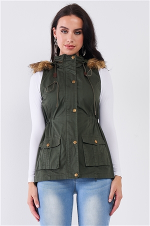 Military Olive Sleeveless Foldable Hood With Detachable Faux Fur Trim Parka Vest /1-3