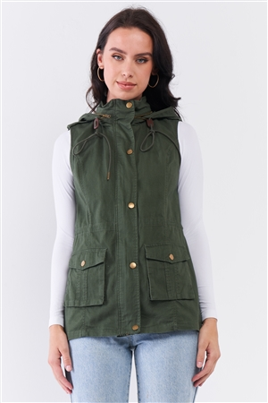Military Olive Sleeveless Foldable Detachable Hood Detail Parka Utility Vest /1-1-1-1-2