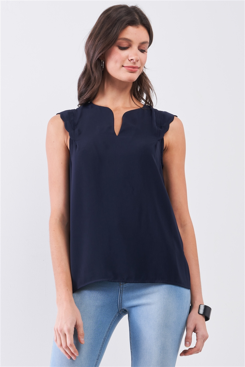 Navy Slit Neckline Scallop Hem Shoulder Detail Loose Fit Tank Top /1-1-2-1-1