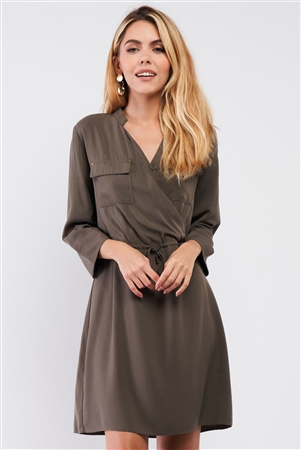 Olive Safari Wrap Front Pockets 3/4 Lapel Sleeve Self-Tie Waist Detail Mini Dress /1-3-2