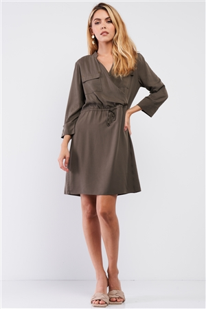 Olive Safari Wrap Front Pockets 3/4 Lapel Sleeve Self-Tie Waist Detail Mini Dress /1-2-3-1