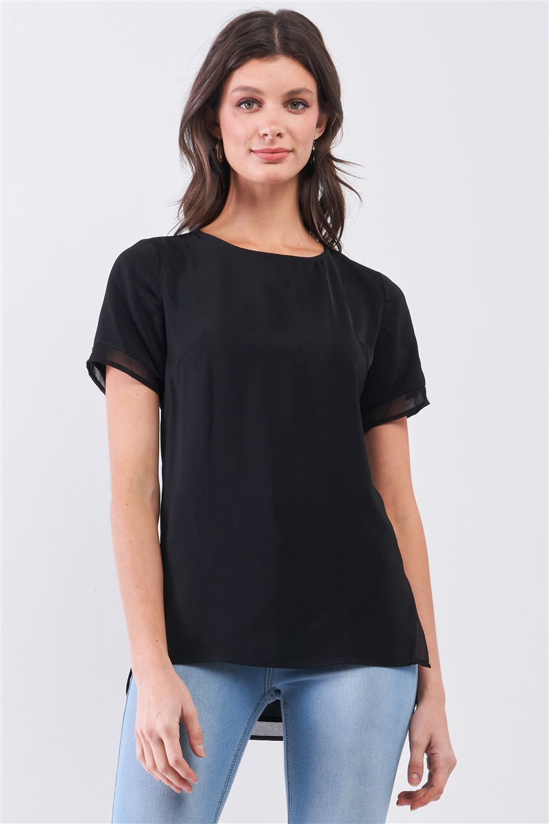 Black Short Sleeve Round Neck Loose Fit Two Side Split T-Short Top