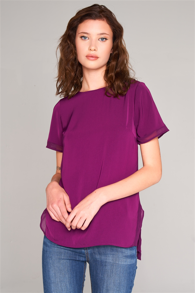 Orchid Short Sleeve Round Neck Loose Fit Two Side Split T-Short Top /2-3
