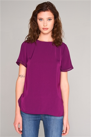 Orchid Short Sleeve Round Neck Loose Fit Two Side Split T-Short Top /2-3-1