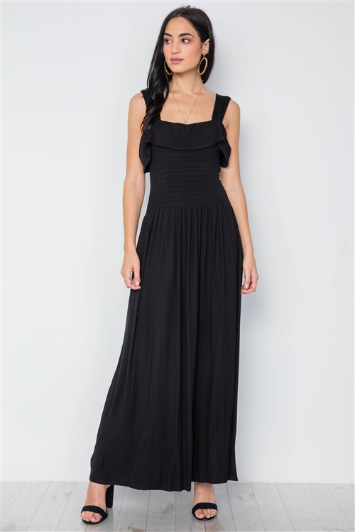 Black Solid Smocked Flawy Maxi Dress