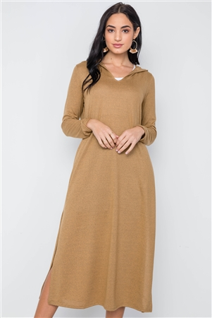 Mustard Knit Long Sleeve V-Neck Hooded Midi Sweater Dress