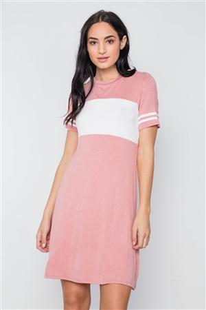 96fd6f936c Quick View this Product Mauve Color Block Short Sleeve Sporty Shirt Dress