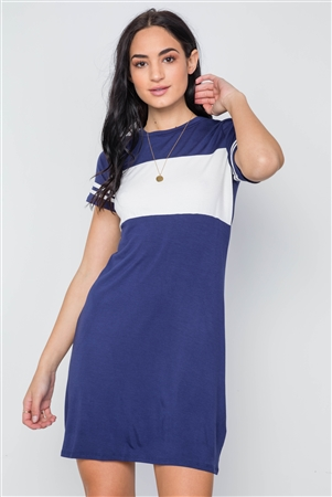 d35334824a Quick View this Product Navy Color Block Short Sleeve Sporty Shirt Dress