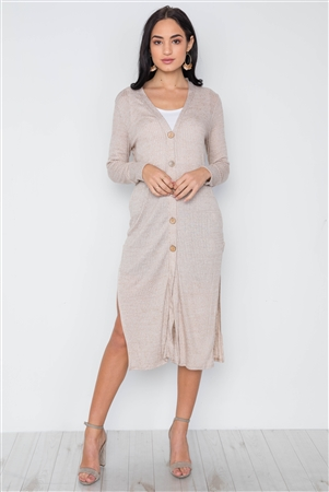 Taupe Knit Light Long Sleeve Button Down Midi Cardigan