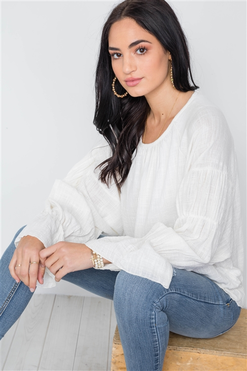 Ivory Long Sleeve Ruffle Sleeves Solid Boho Top