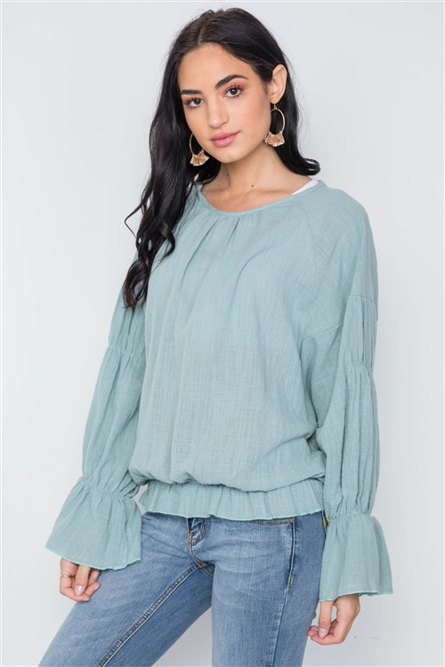 Mint Long Sleeve Ruffle Sleeves Solid Boho Top