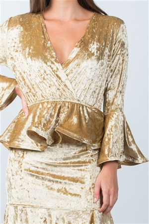 Gold Velvet Plunge CrossOver Top With Midi Skirt Set