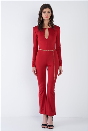 Red Satin V-Neck Back Gold Hardware Keyhole Front Wide Leg Jumpsuit