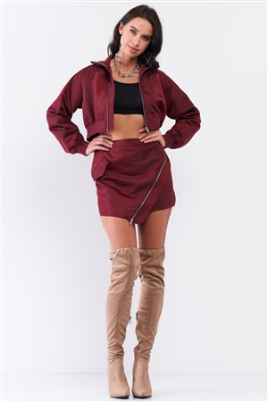 Wine Cropped Raglan Balloon Sleeve Rib Knit Cuff Bomber Jacket Asymmetrical Zipper Detail Mini Skirt Set/3-2-1