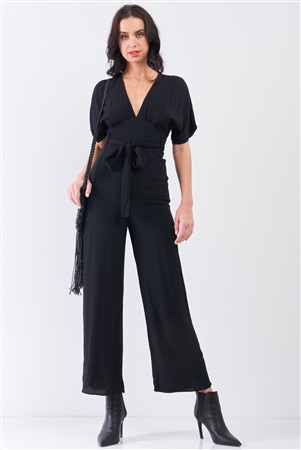 Jet Black Solid V-Neck Angel Sleeve Self-Tie Waist Detail Wide Leg Jumpsuit /3-2-1